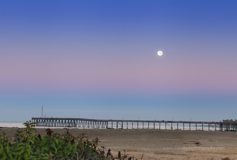 ventura, beach, moonset, ventura county photographer, carol holt photography
